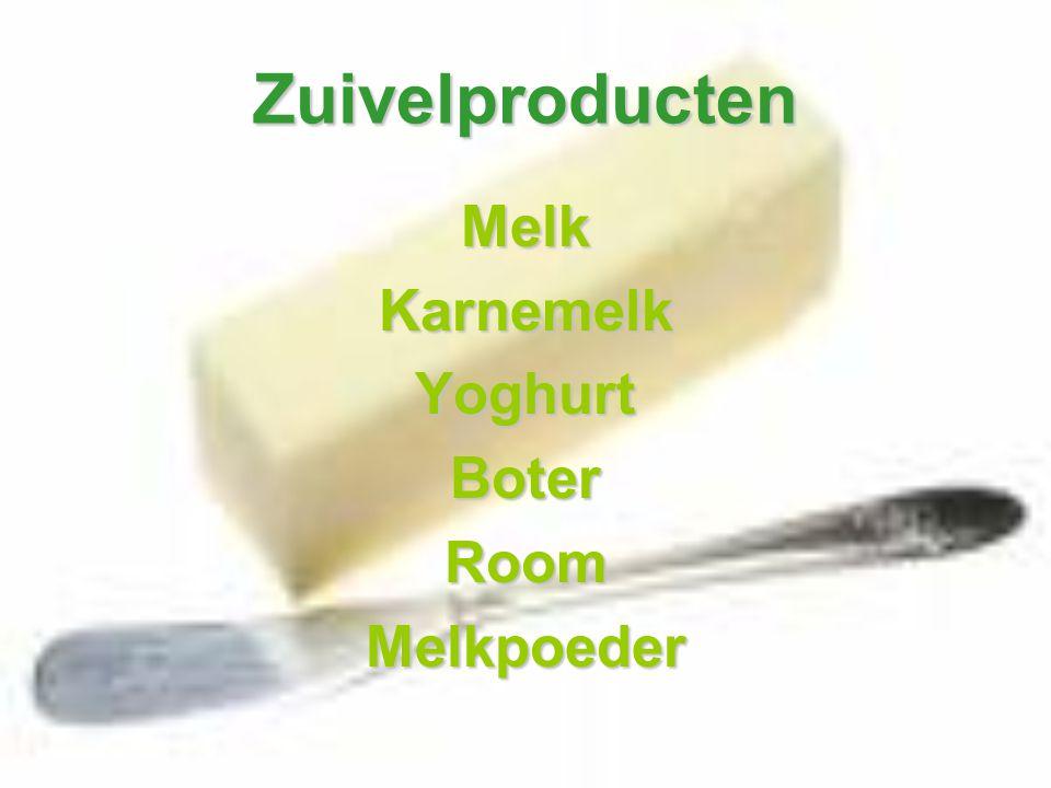 Zuivelproducten MelkKarnemelkYoghurtBoterRoomMelkpoeder