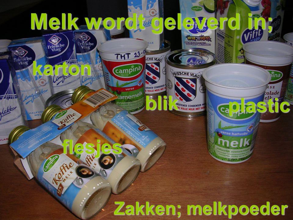 flesjes karton plastic blik Melk wordt geleverd in; Zakken; melkpoeder