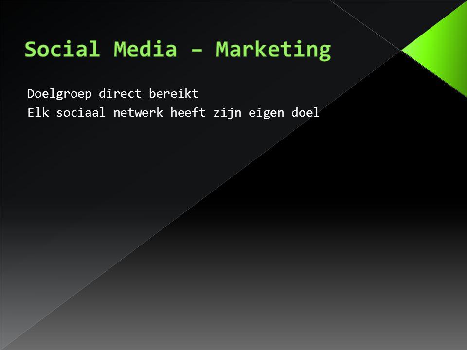 Doelgroep direct bereikt Elk sociaal netwerk heeft zijn eigen doel