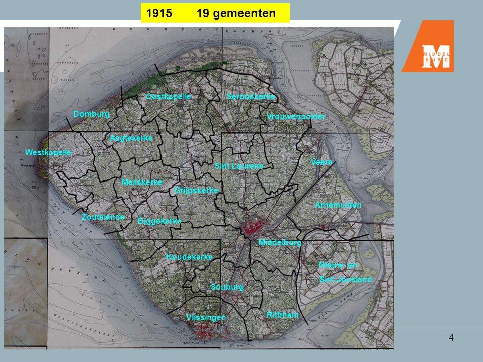 Woonplaatsen in Middelburg4 1915 19 gemeenten Domburg Westkapelle Zoutelande Meliskerke Biggekerke Koudekerke Souburg Vlissingen Rithhem Middelburg Ni