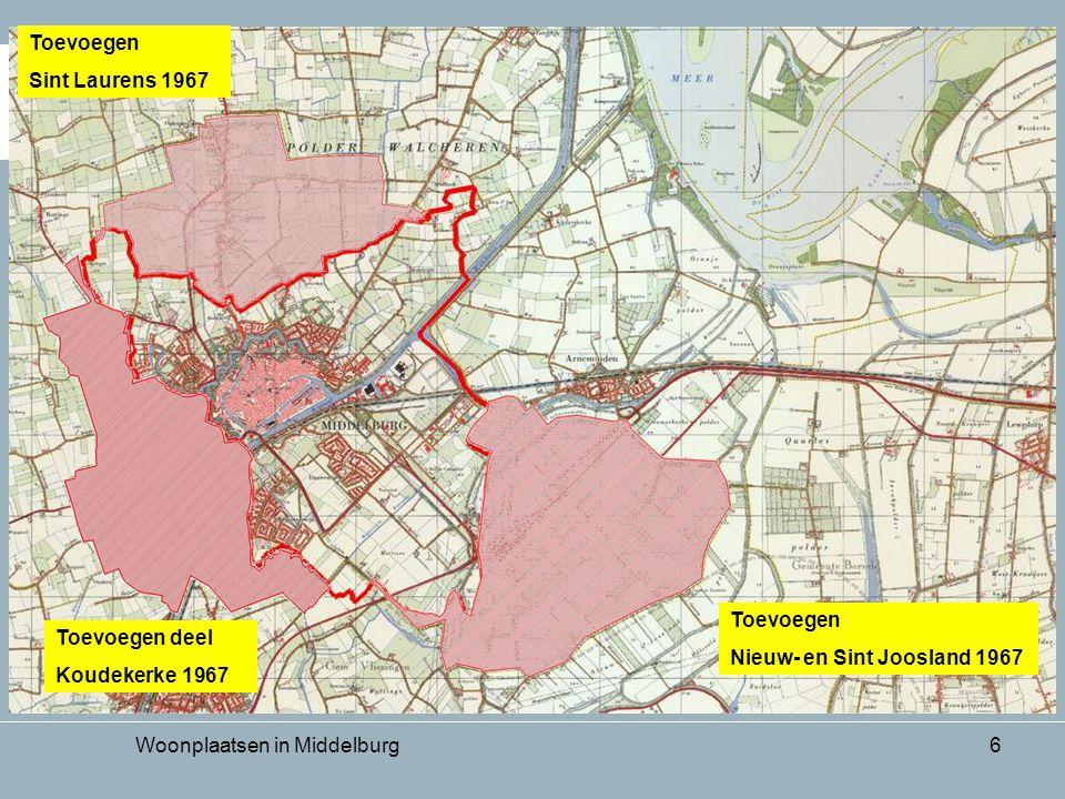 Woonplaatsen in Middelburg6 Toevoegen deel Koudekerke 1967 Toevoegen Sint Laurens 1967 Toevoegen Nieuw- en Sint Joosland 1967