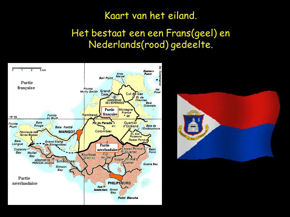 Kaart van het eiland. Het bestaat een een Frans(geel) en Nederlands(rood) gedeelte.