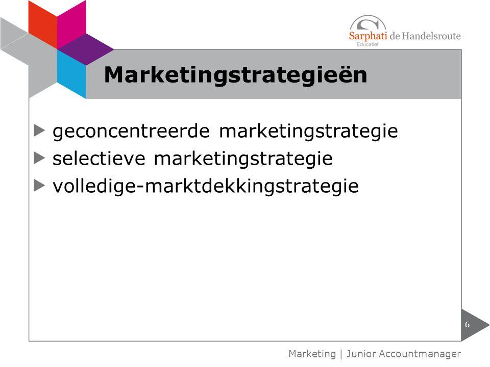 geconcentreerde marketingstrategie selectieve marketingstrategie volledige-marktdekkingstrategie 6 Marketing | Junior Accountmanager Marketingstrategieën