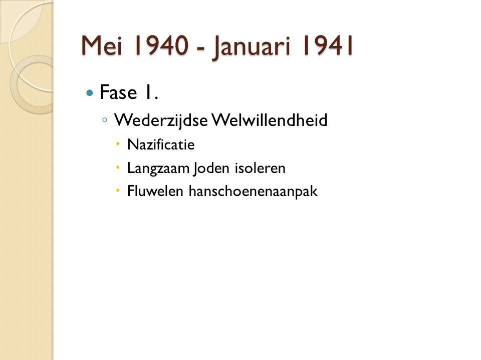 Mei 1940 - Januari 1941 Fase 1. ◦ Wederzijdse Welwillendheid  Nazificatie  Langzaam Joden isoleren  Fluwelen hanschoenenaanpak