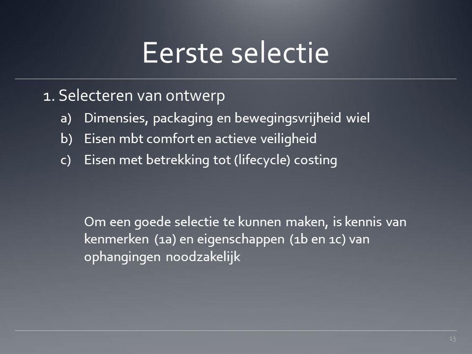 Eerste selectie 1. Selecteren van ontwerp a)Dimensies, packaging en bewegingsvrijheid wiel b)Eisen mbt comfort en actieve veiligheid c)Eisen met betre