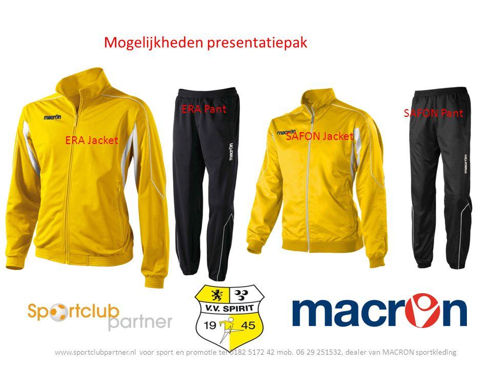 Mogelijkheden presentatiepak ERA Jacket ERA Pant SAFON Jacket SAFON Pant www.sportclubpartner.nl voor sport en promotie tel 0182 5172 42 mob.