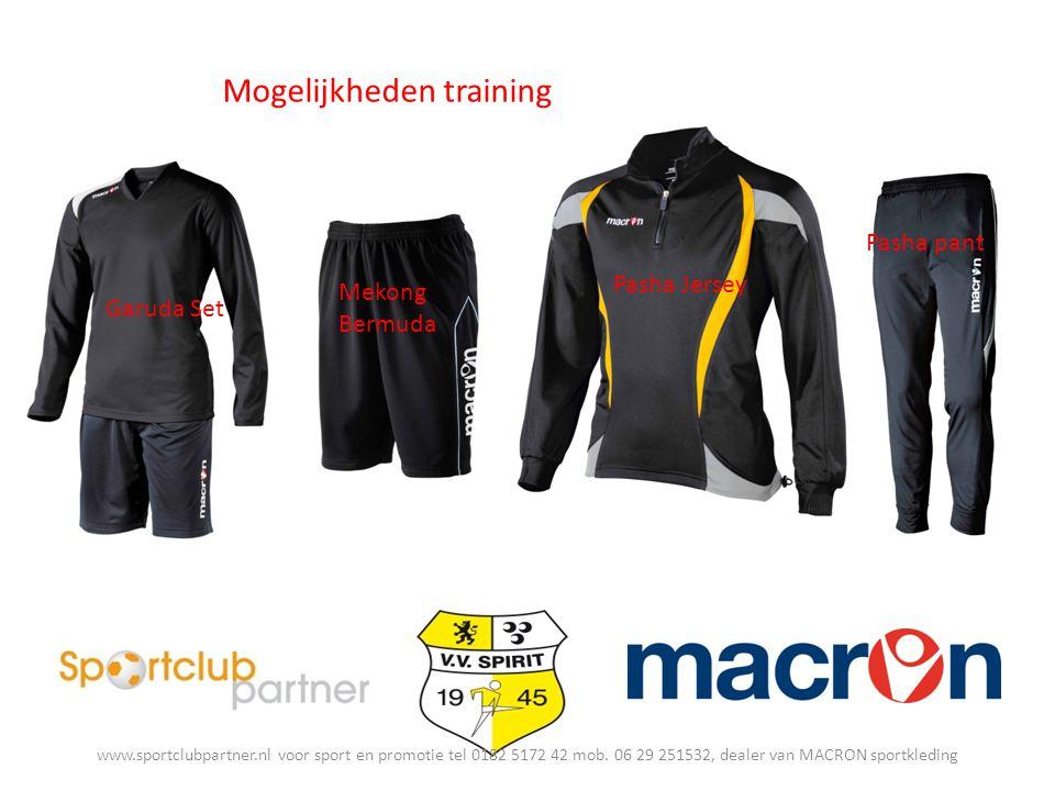 Mogelijkheden training Pasha Jersey Garuda Set Pasha pant Mekong Bermuda www.sportclubpartner.nl voor sport en promotie tel 0182 5172 42 mob.