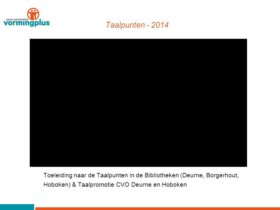 Taalpunten - 2014 Toeleiding naar de Taalpunten in de Bibliotheken (Deurne, Borgerhout, Hoboken) & Taalpromotie CVO Deurne en Hoboken