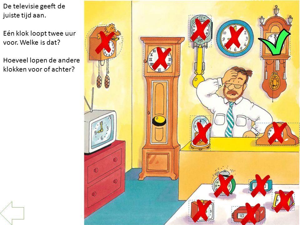 De televisie geeft de juiste tijd aan. Eén klok loopt twee uur voor. Welke is dat? Hoeveel lopen de andere klokken voor of achter?