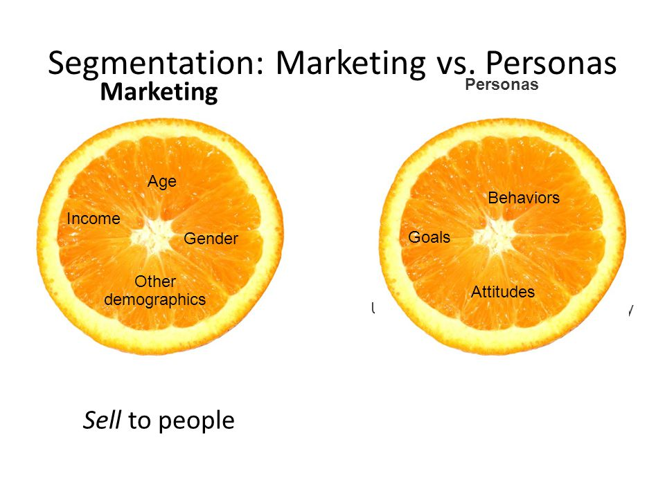 Personas Understand how people will actually use the site Segmentation: Marketing vs.