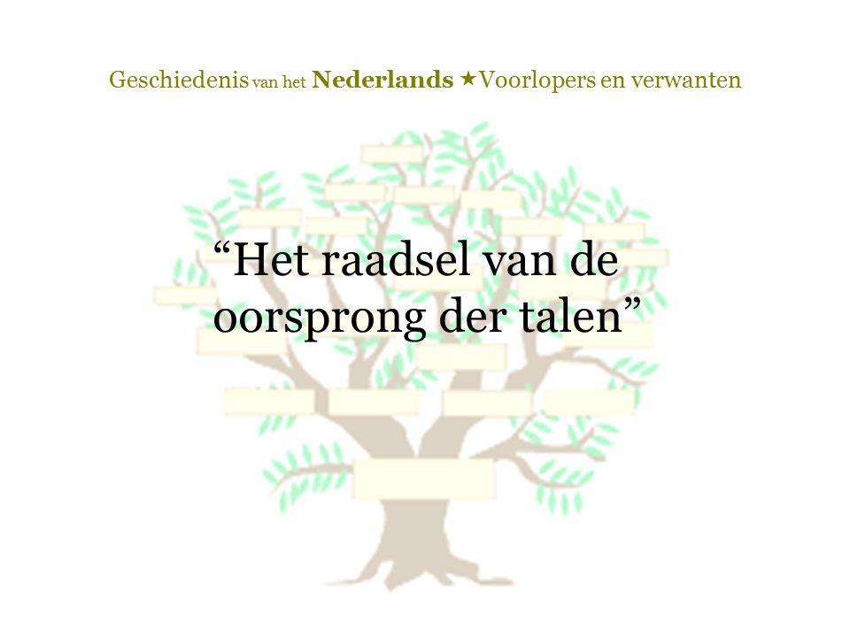 """Geschiedenis van het Nederlands  Voorlopers en verwanten """"Het raadsel van de oorsprong der talen"""""""