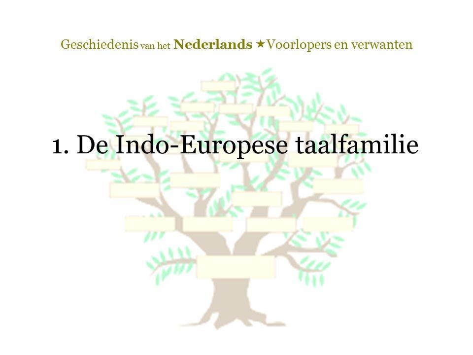 Geschiedenis van het Nederlands  Voorlopers en verwanten 1. De Indo-Europese taalfamilie