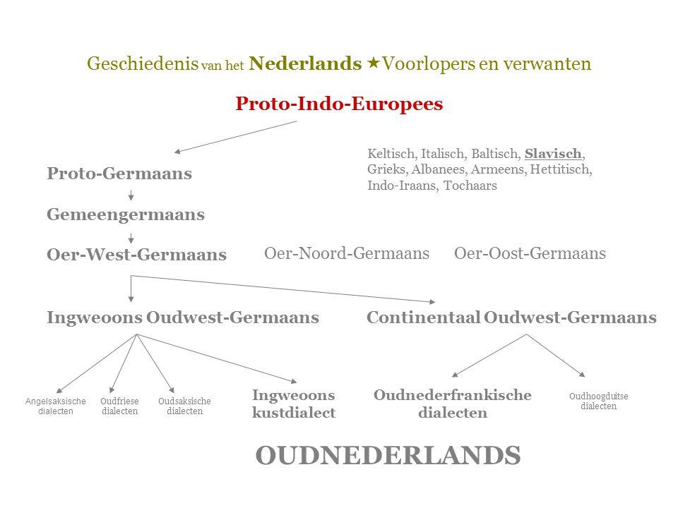 Geschiedenis van het Nederlands  Voorlopers en verwanten Proto-Indo-Europees Proto-Germaans Gemeengermaans Oer-West-Germaans Ingweoons Oudwest-Germaa