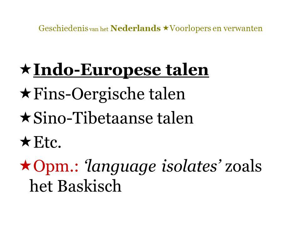 Geschiedenis van het Nederlands  Voorlopers en verwanten  Indo-Europese talen  Fins-Oergische talen  Sino-Tibetaanse talen  Etc.  Opm.: 'languag