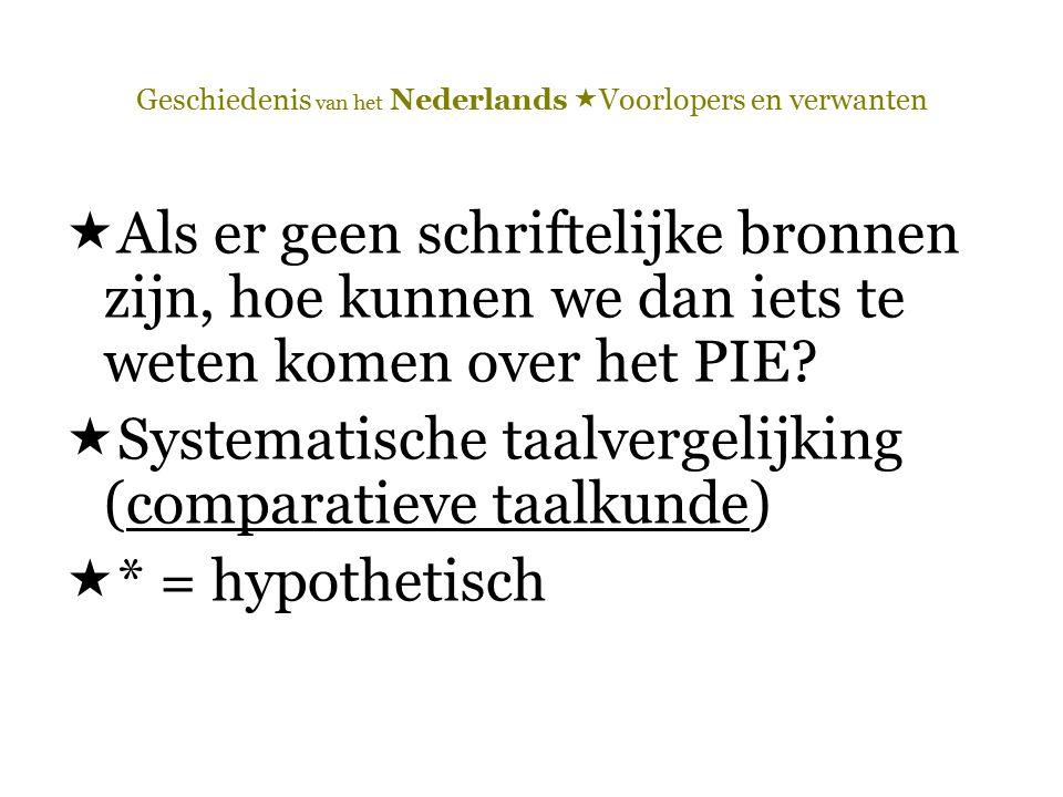 Geschiedenis van het Nederlands  Voorlopers en verwanten  Als er geen schriftelijke bronnen zijn, hoe kunnen we dan iets te weten komen over het PIE