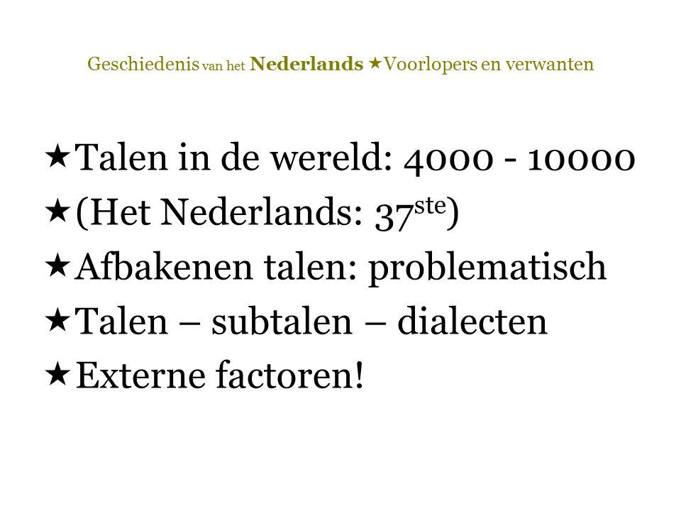  Talen in de wereld: 4000 - 10000  (Het Nederlands: 37 ste )  Afbakenen talen: problematisch  Talen – subtalen – dialecten  Externe factoren!