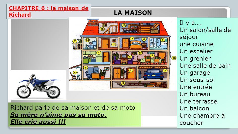 CHAPITRE 6 : la maison de Richard Richard parle de sa maison et de sa moto Sa mère n'aime pas sa moto. Elle crie aussi !!! Il y a…. Un salon/salle de