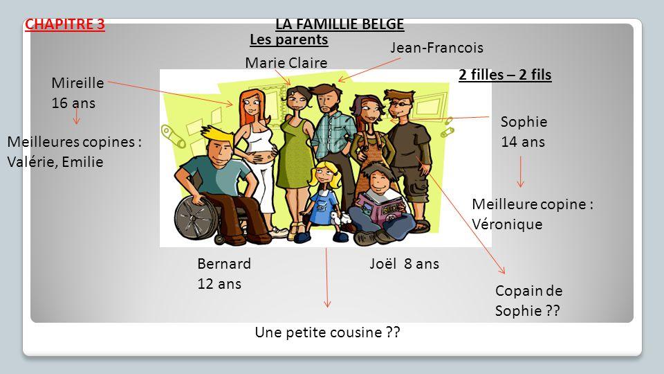 CHAPITRE 3 2 filles – 2 fils Mireille 16 ans Sophie 14 ans Bernard 12 ans Joël 8 ans Marie Claire Jean-Francois Meilleures copines : Valérie, Emilie M