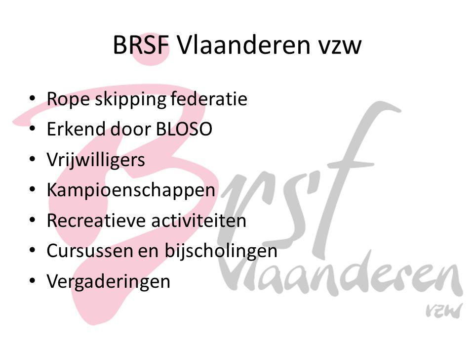 BRSF Vlaanderen vzw Rope skipping federatie Erkend door BLOSO Vrijwilligers Kampioenschappen Recreatieve activiteiten Cursussen en bijscholingen Vergaderingen