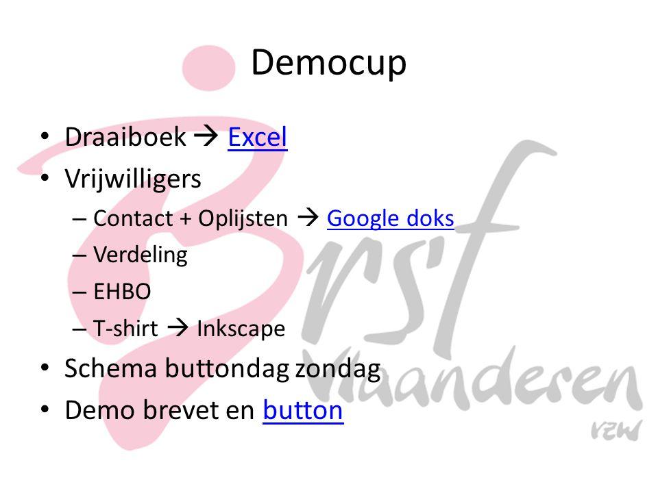 Democup Draaiboek  ExcelExcel Vrijwilligers – Contact + Oplijsten  Google doksGoogle doks – Verdeling – EHBO – T-shirt  Inkscape Schema buttondag zondag Demo brevet en buttonbutton