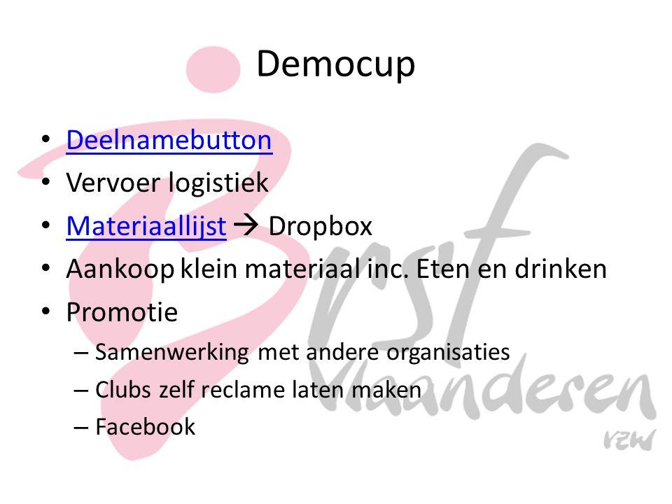 Democup Deelnamebutton Vervoer logistiek Materiaallijst  Dropbox Materiaallijst Aankoop klein materiaal inc.