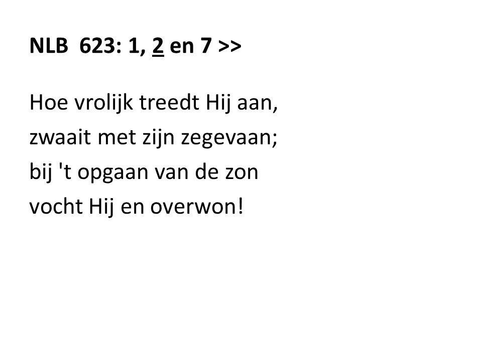 NLB 623: 1, 2 en 7 >> Hoe vrolijk treedt Hij aan, zwaait met zijn zegevaan; bij 't opgaan van de zon vocht Hij en overwon!