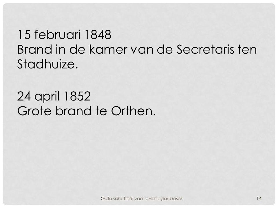 5 Augustus 1830 Brand in de toren van de Sint Janskerk als gevolg van blikseminslag. Het College betuigt zijn dank aan de Commandant voor de ijver en