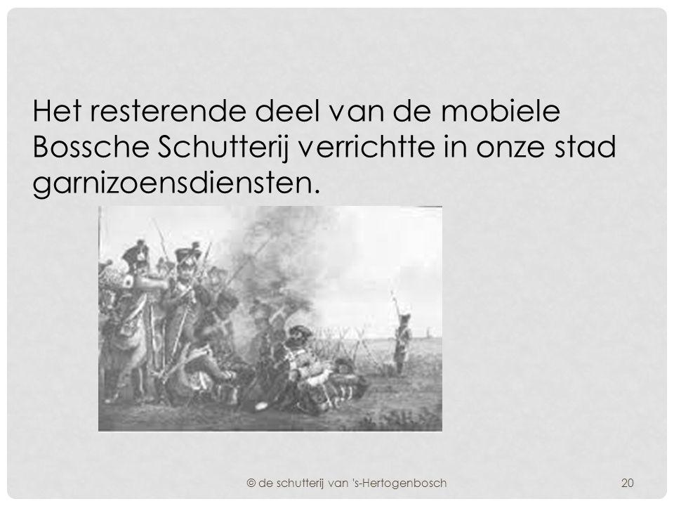 Eén van deze Bossche Compagnieën, werd ingedeeld bij het 1e marsbataljon, dat als volgt was samengesteld: © de schutterij van 's-Hertogenbosch 1 Compa
