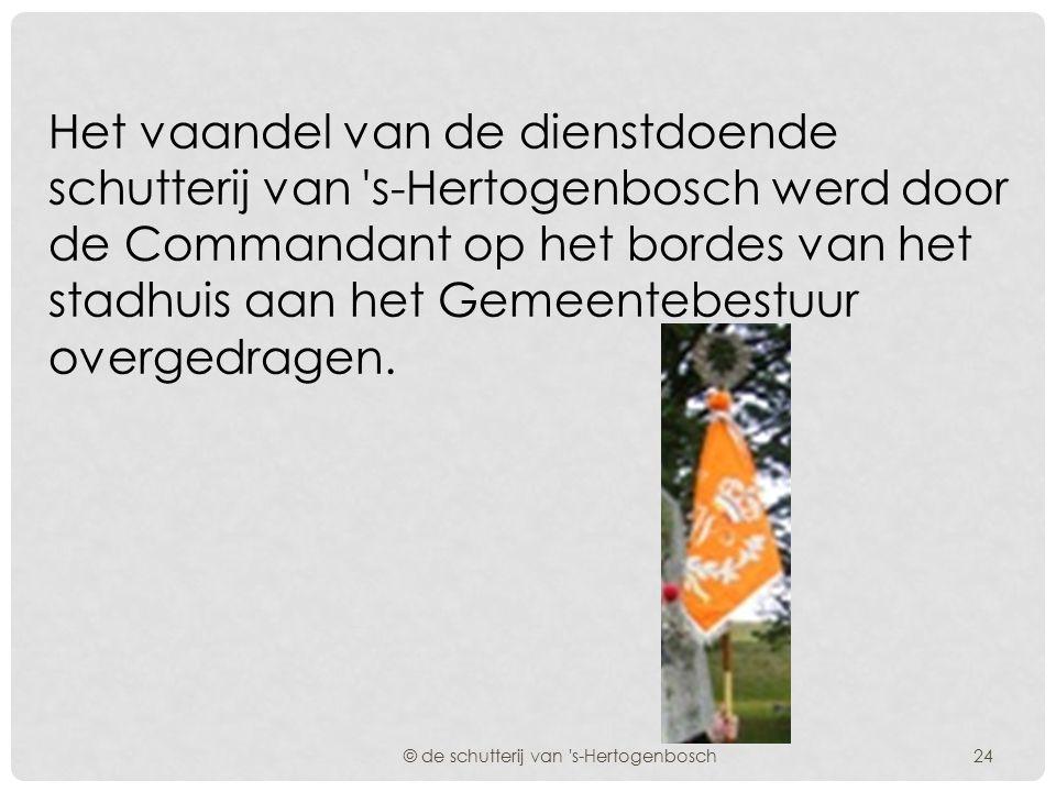 Op 30 oktober 1906 had in onze stad het afscheid plaats van de schutterij met een wapenschouw op de parade. © de schutterij van 's-Hertogenbosch23