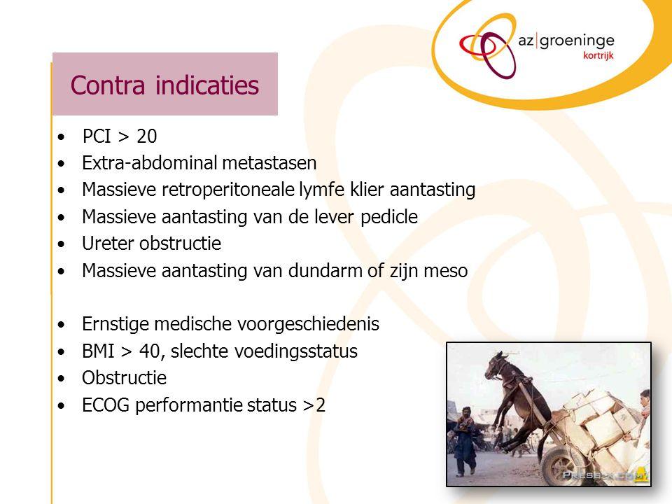 HIPEC Resultaten –14 patiënten met peritoneale meta's van colo- rectale origine Gemidd PCI : 4,9 (0-16) 14 3