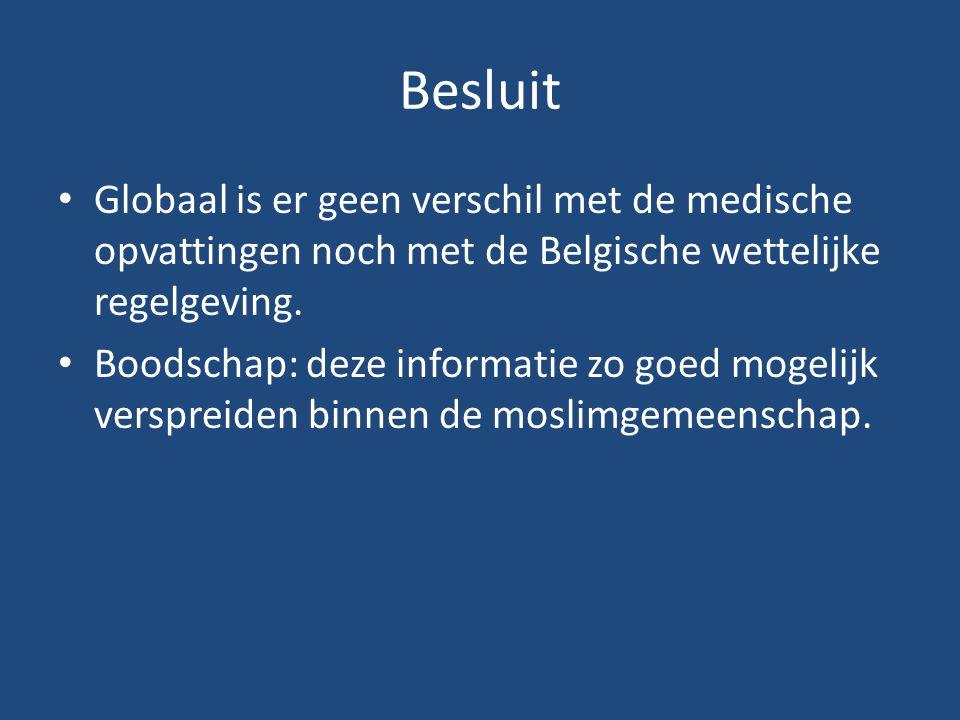 Globaal is er geen verschil met de medische opvattingen noch met de Belgische wettelijke regelgeving. Boodschap: deze informatie zo goed mogelijk vers