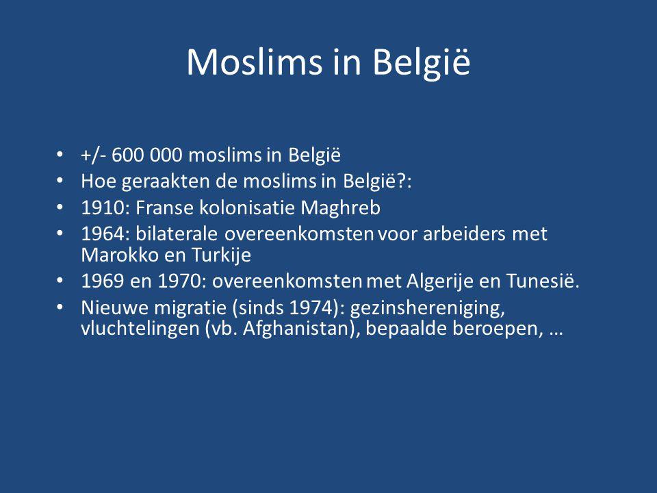 Moslims in België +/- 600 000 moslims in België Hoe geraakten de moslims in België?: 1910: Franse kolonisatie Maghreb 1964: bilaterale overeenkomsten