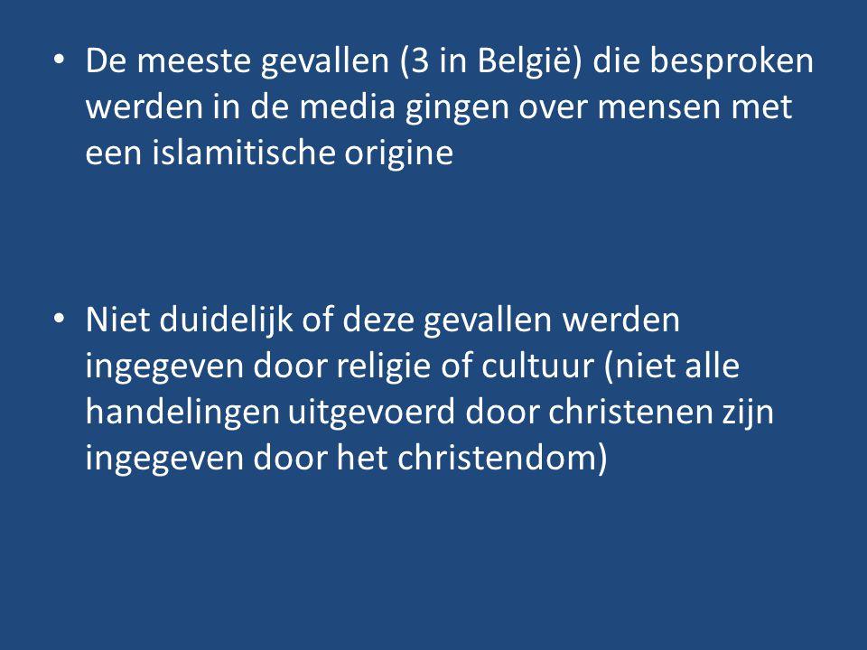 De meeste gevallen (3 in België) die besproken werden in de media gingen over mensen met een islamitische origine Niet duidelijk of deze gevallen werd
