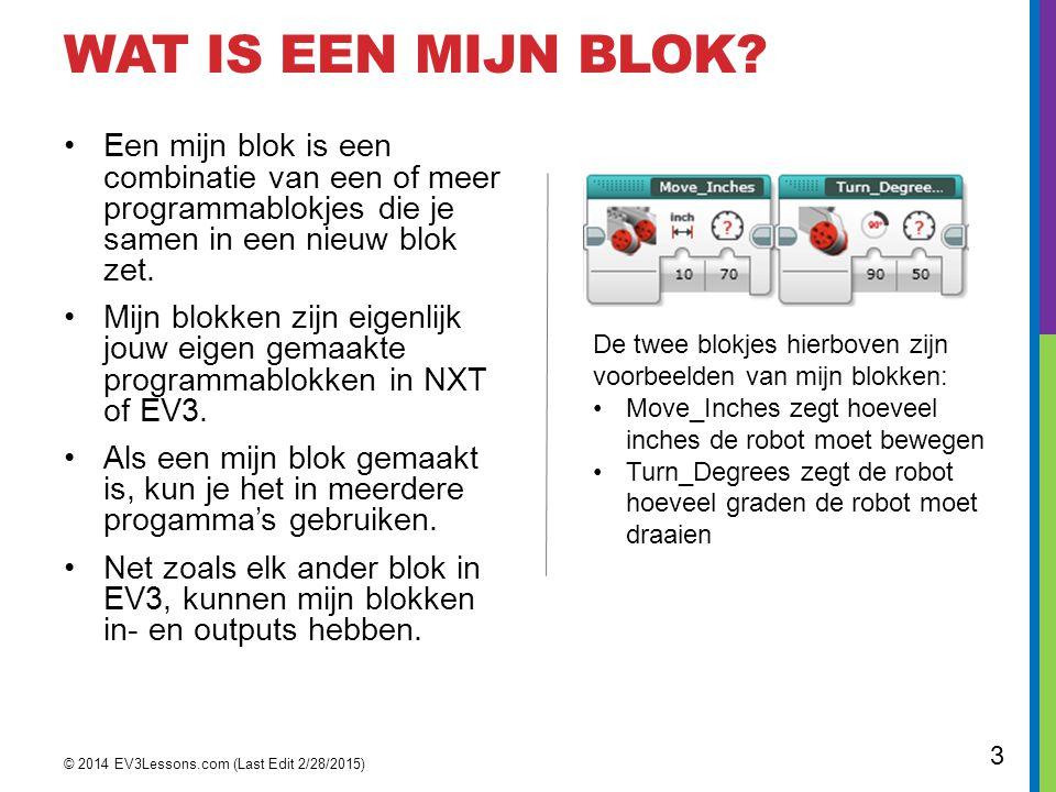WAT IS EEN MIJN BLOK? Een mijn blok is een combinatie van een of meer programmablokjes die je samen in een nieuw blok zet. Mijn blokken zijn eigenlijk