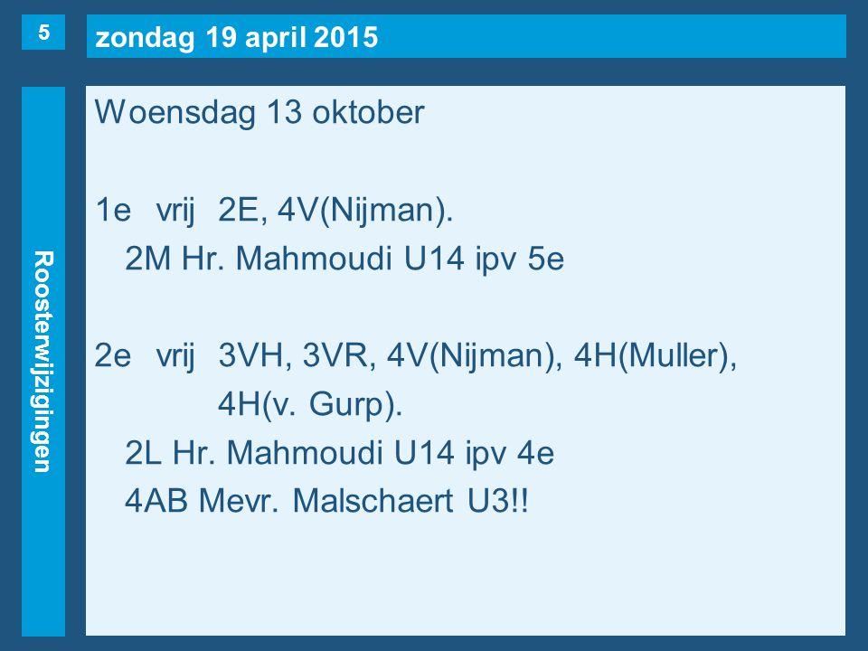zondag 19 april 2015 Roosterwijzigingen Woensdag 13 oktober 3evrij2E, 3V(Nijman), 4VS, 4HB.
