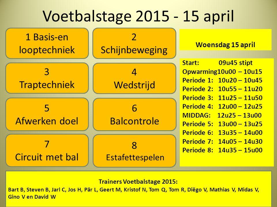 Voetbalstage 2015 - 15 april Woensdag 15 april Start: 09u45 stipt Opwarming10u00 – 10u15 Periode 1: 10u20 – 10u45 Periode 2: 10u55 – 11u20 Periode 3: