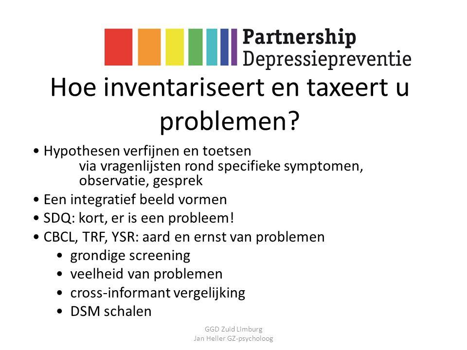 GGD Zuid Limburg Jan Heller GZ-psycholoog Hoe inventariseert en taxeert u problemen? Hypothesen verfijnen en toetsen via vragenlijsten rond specifieke