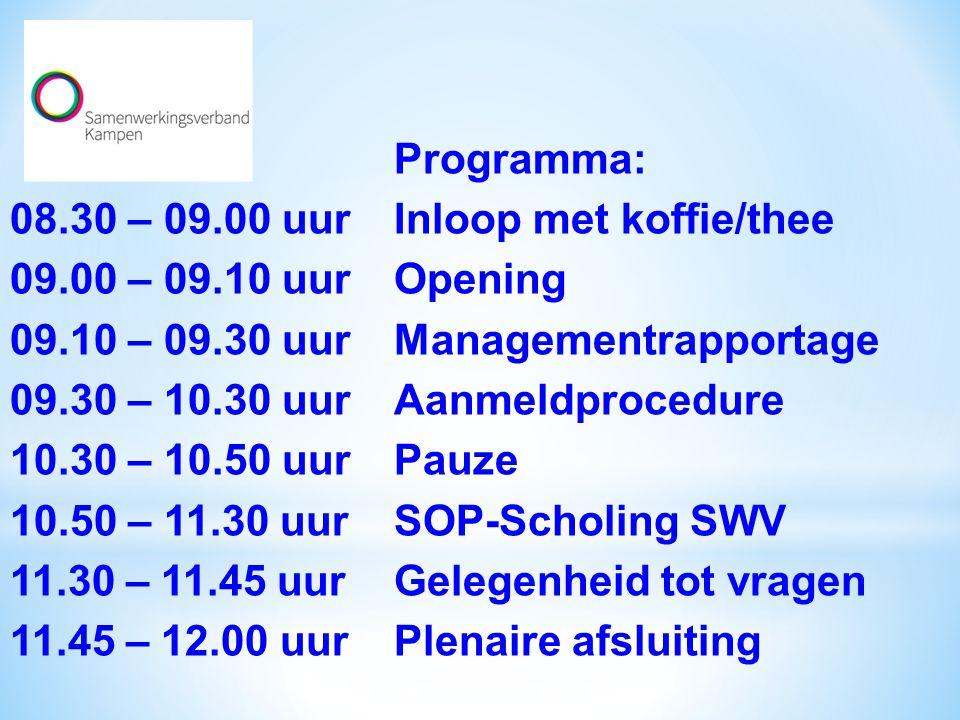 Programma: 08.30 – 09.00 uurInloop met koffie/thee 09.00 – 09.10 uurOpening 09.10 – 09.30 uurManagementrapportage 09.30 – 10.30 uurAanmeldprocedure 10.30 – 10.50 uurPauze 10.50 – 11.30 uurSOP-Scholing SWV 11.30 – 11.45 uurGelegenheid tot vragen 11.45 – 12.00 uurPlenaire afsluiting