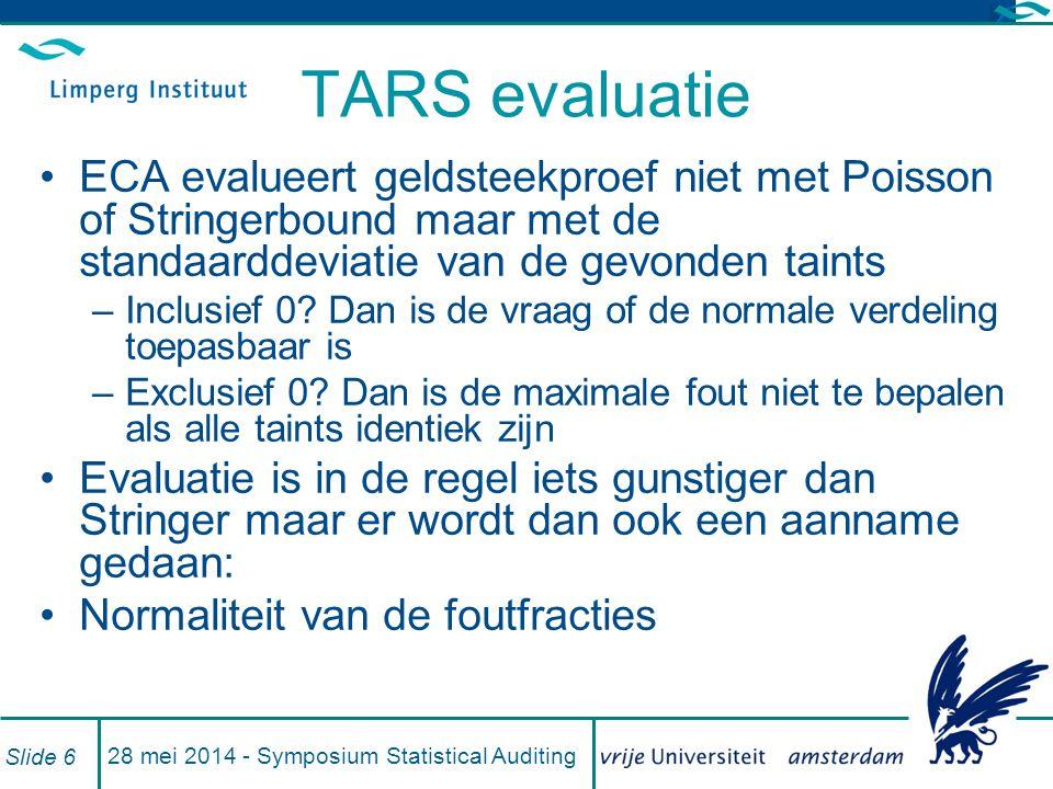 TARS evaluatie ECA evalueert geldsteekproef niet met Poisson of Stringerbound maar met de standaarddeviatie van de gevonden taints –Inclusief 0.