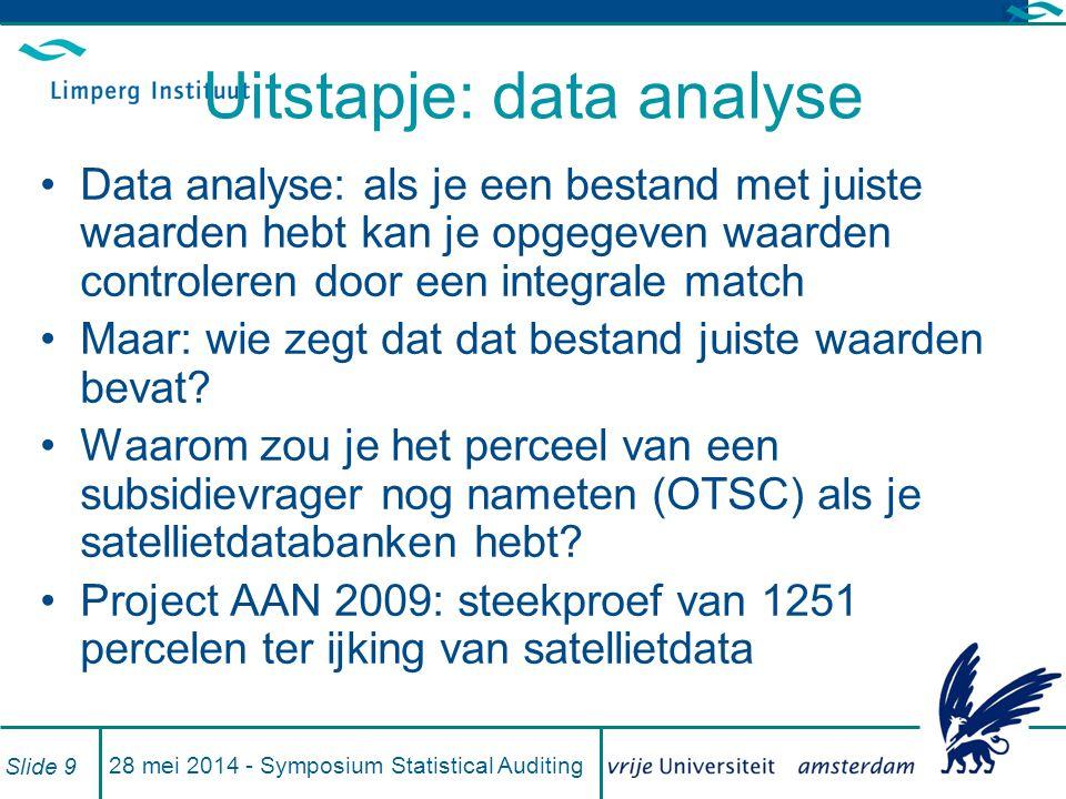 Uitstapje: data analyse Data analyse: als je een bestand met juiste waarden hebt kan je opgegeven waarden controleren door een integrale match Maar: wie zegt dat dat bestand juiste waarden bevat.