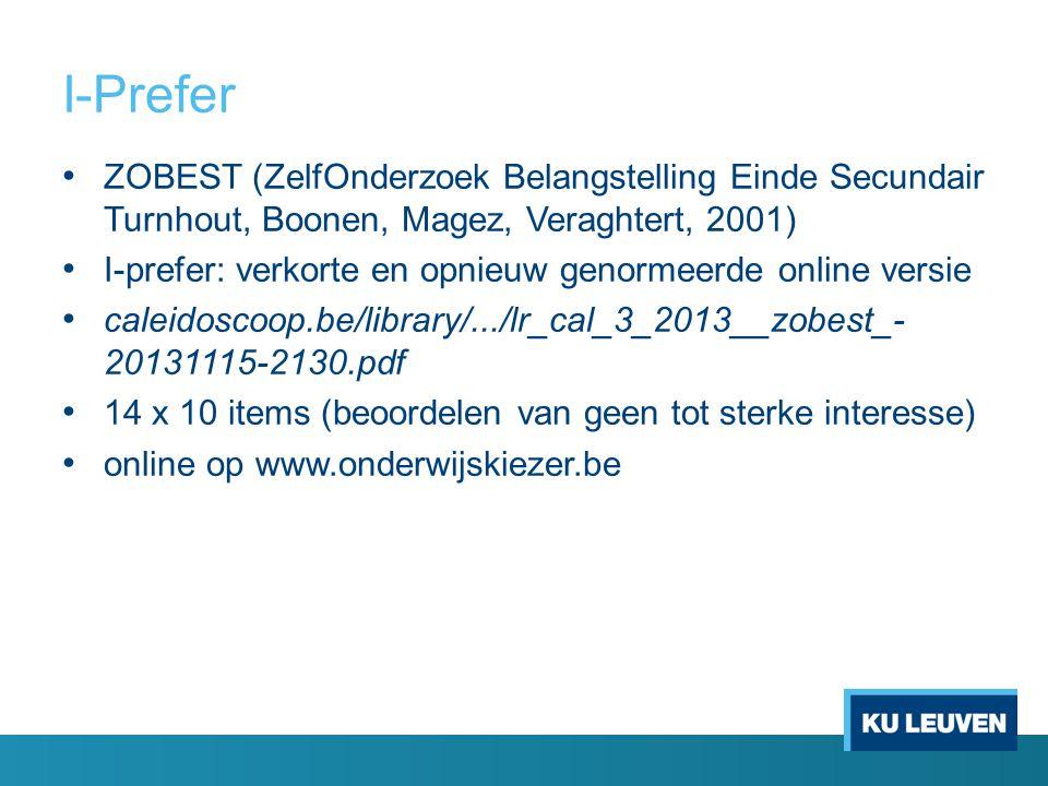 I-Prefer ZOBEST (ZelfOnderzoek Belangstelling Einde Secundair Turnhout, Boonen, Magez, Veraghtert, 2001) I-prefer: verkorte en opnieuw genormeerde onl