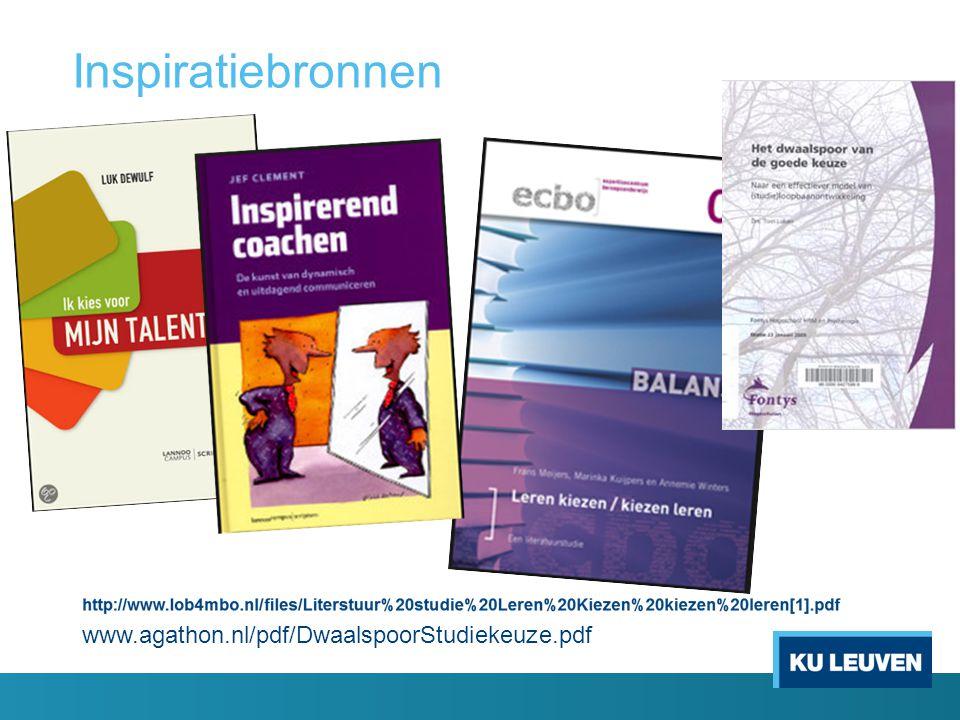 Inspiratiebronnen www.agathon.nl/pdf/DwaalspoorStudiekeuze.pdf