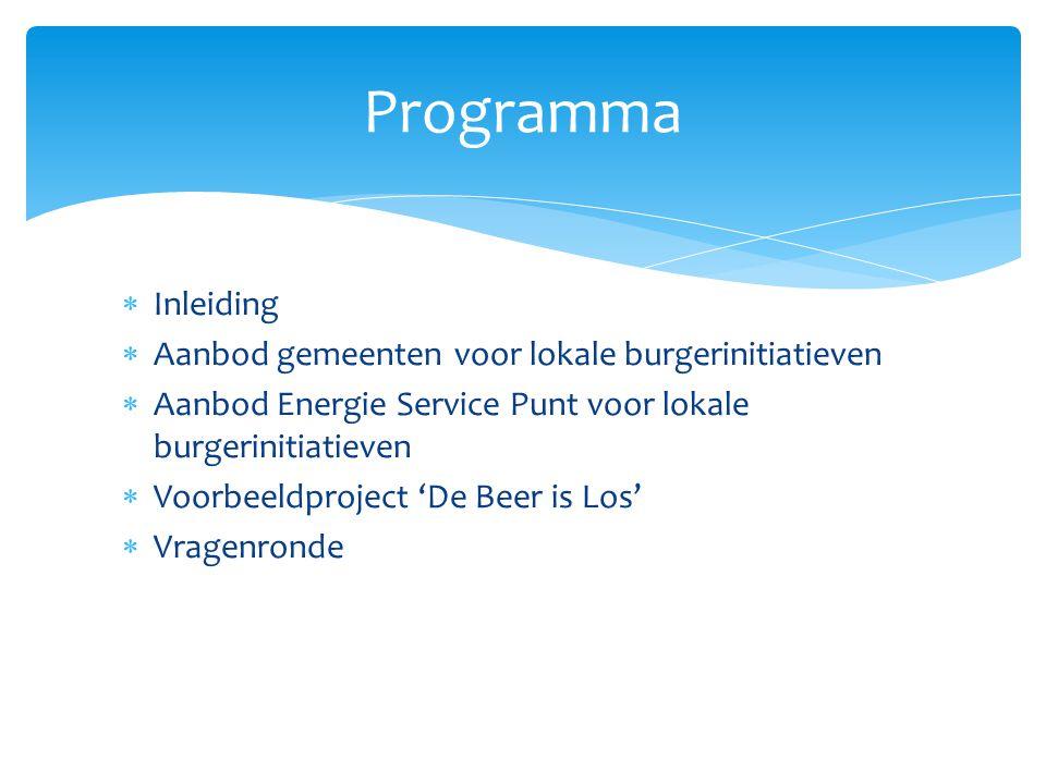  Inleiding  Aanbod gemeenten voor lokale burgerinitiatieven  Aanbod Energie Service Punt voor lokale burgerinitiatieven  Voorbeeldproject 'De Beer