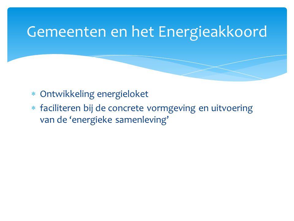  Ontwikkeling energieloket  faciliteren bij de concrete vormgeving en uitvoering van de 'energieke samenleving' Gemeenten en het Energieakkoord