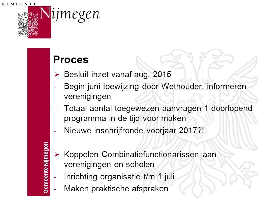 Gemeente Nijmegen Proces  Besluit inzet vanaf aug. 2015 - Begin juni toewijzing door Wethouder, informeren verenigingen - Totaal aantal toegewezen aa