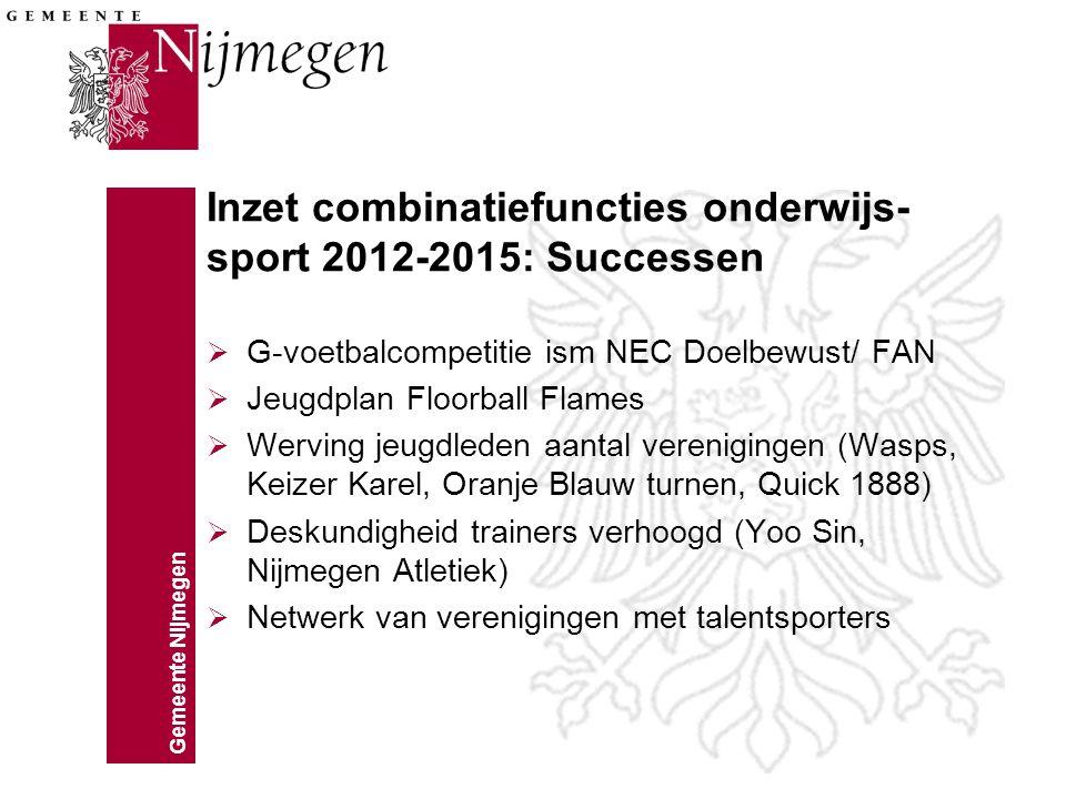 Gemeente Nijmegen Inzet combinatiefuncties onderwijs- sport 2012-2015: Successen  G-voetbalcompetitie ism NEC Doelbewust/ FAN  Jeugdplan Floorball F