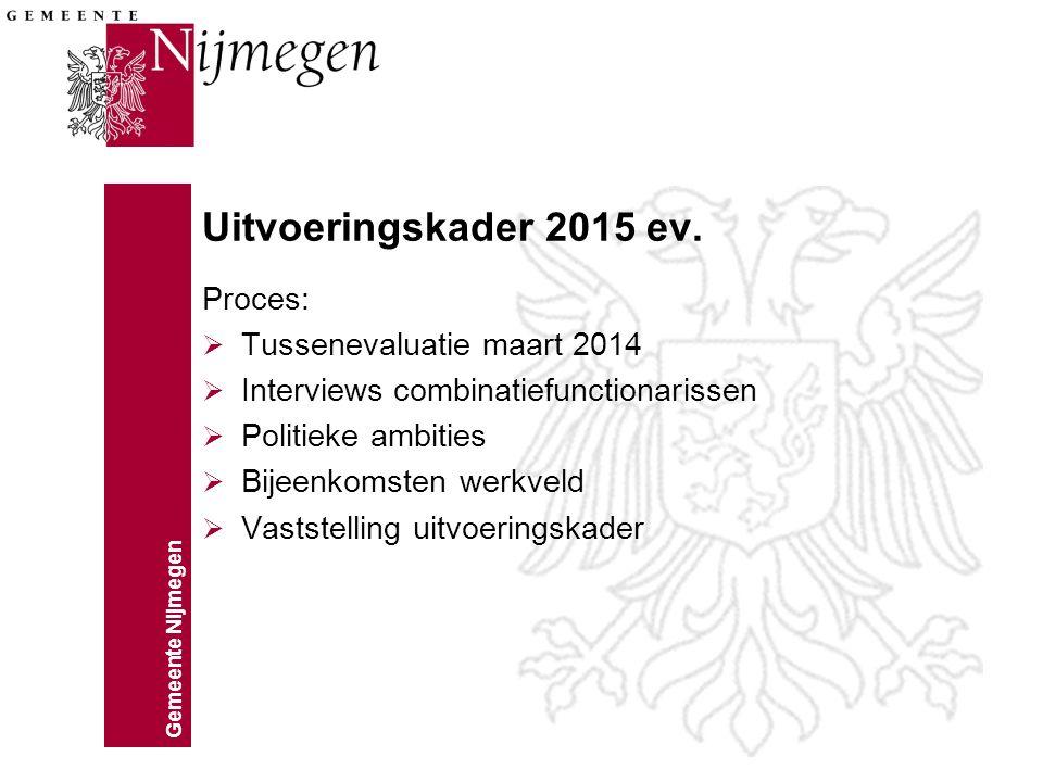 Gemeente Nijmegen Uitvoeringskader 2015 ev. Proces:  Tussenevaluatie maart 2014  Interviews combinatiefunctionarissen  Politieke ambities  Bijeenk