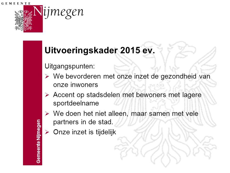 Gemeente Nijmegen Uitvoeringskader 2015 ev. Uitgangspunten:  We bevorderen met onze inzet de gezondheid van onze inwoners  Accent op stadsdelen met