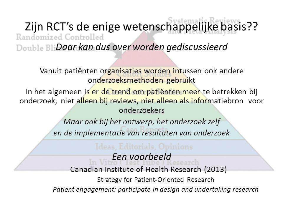 Participatie in het ontwerp en de uitvoering van het onderzoek Patiënten worden onderzoekers .