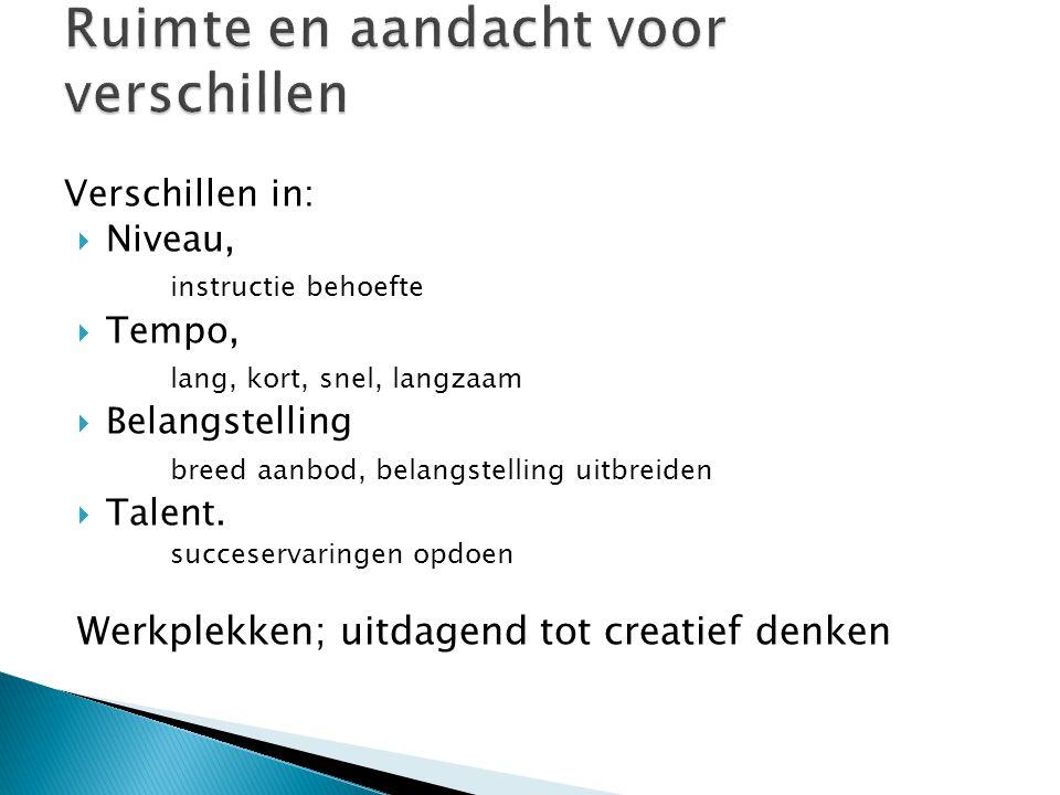 Verschillen in:  Niveau, instructie behoefte  Tempo, lang, kort, snel, langzaam  Belangstelling breed aanbod, belangstelling uitbreiden  Talent. s